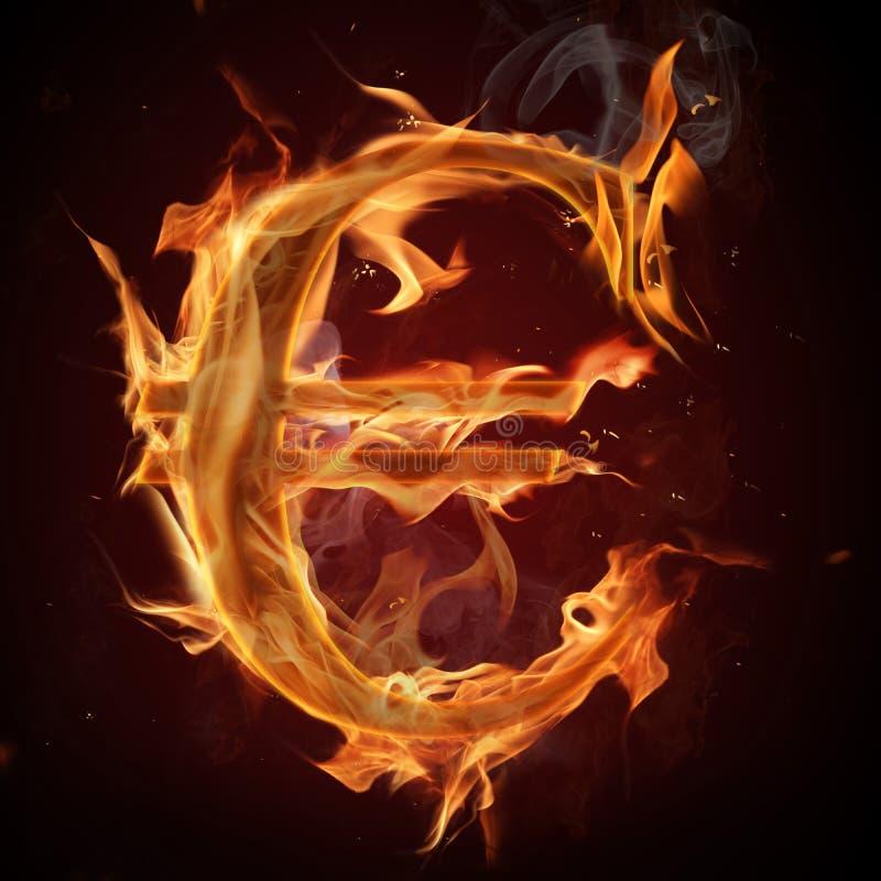 Símbolo do euro do incêndio ilustração royalty free