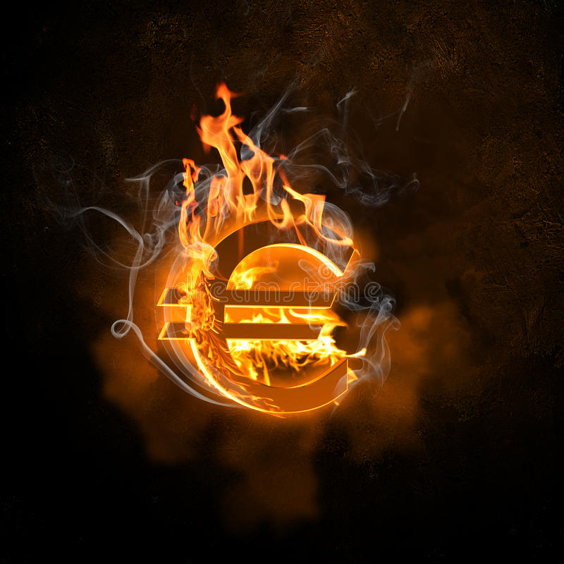 Símbolo do Euro em chamas do fogo fotos de stock