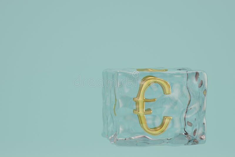 Símbolo do Euro em cubos de gelo ilustração 3D ilustração stock