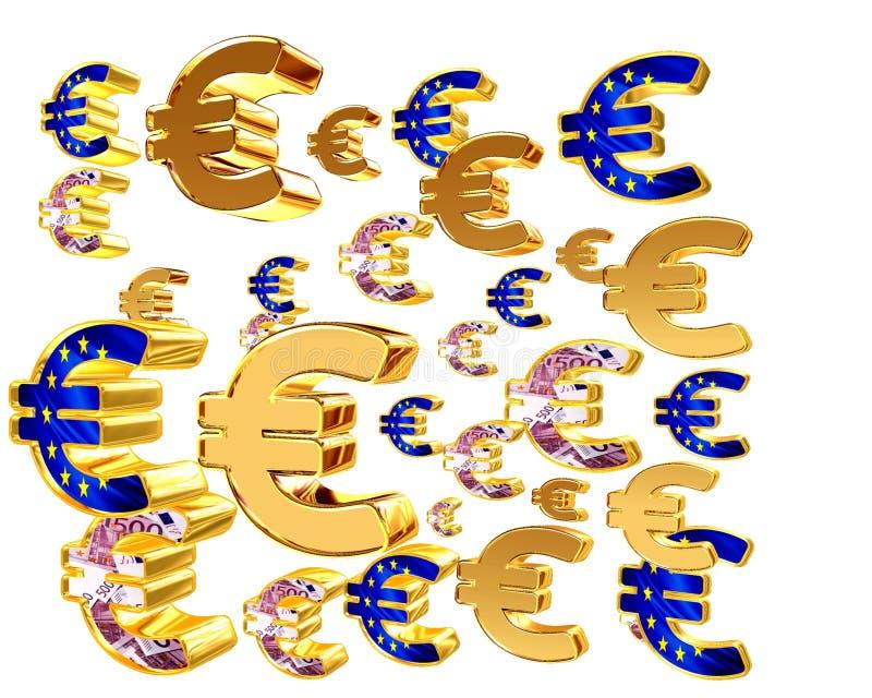 Símbolo do Euro em um fundo branco ilustração royalty free