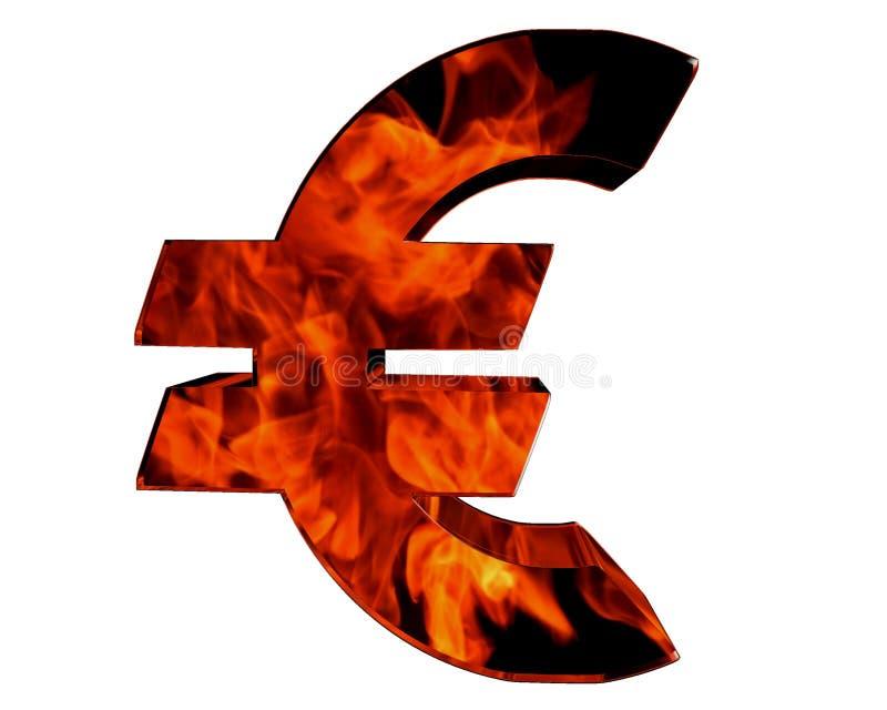 Símbolo do Euro em um fundo branco ilustração stock