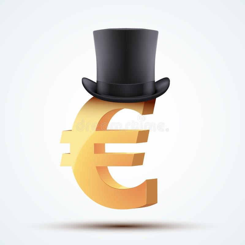 Símbolo do euro europeu no chapéu do cilindro ilustração do vetor