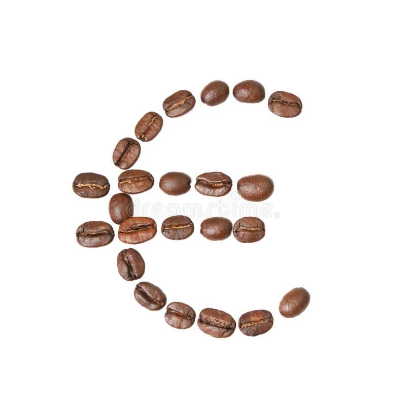 Símbolo do Euro feito de feijões de café imagem de stock royalty free