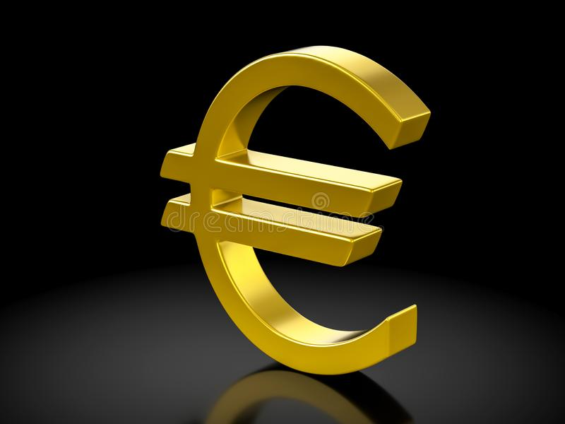 Símbolo do euro do ouro ilustração do vetor
