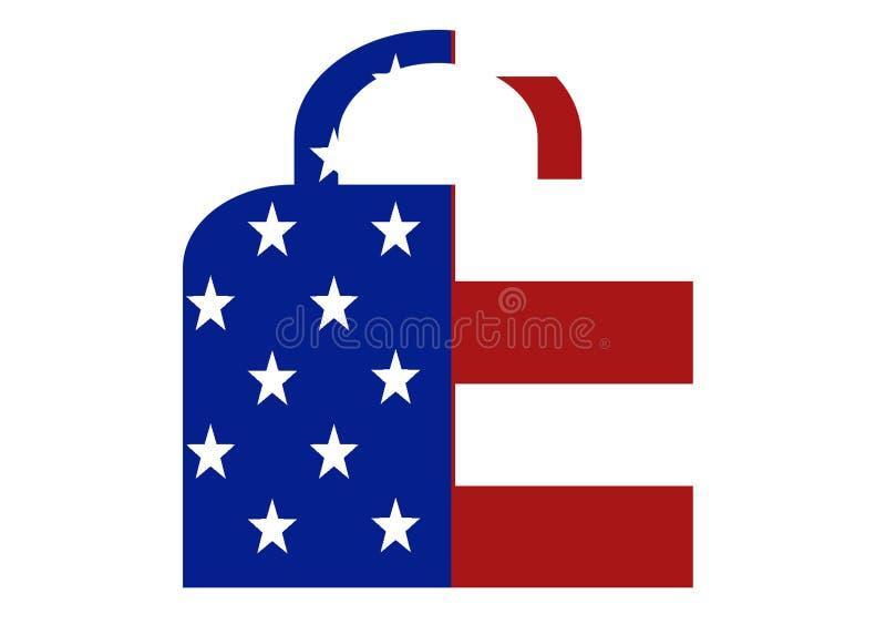 Símbolo do fechamento da bandeira dos E.U. ilustração do vetor