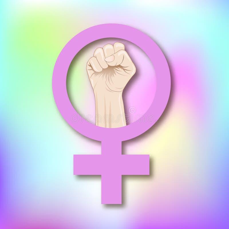 Símbolo do feminismo com uma ilustração fêmea do vetor do punho ilustração royalty free