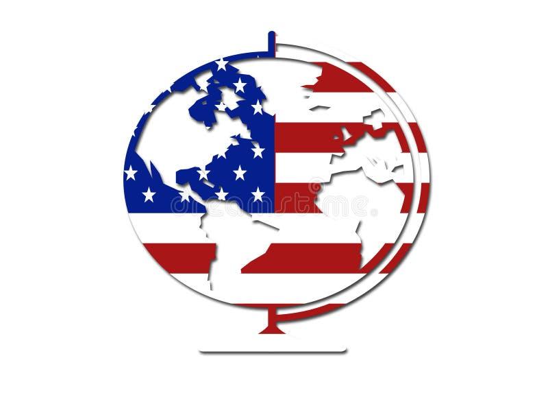 Símbolo do globo da bandeira dos E.U. ilustração stock