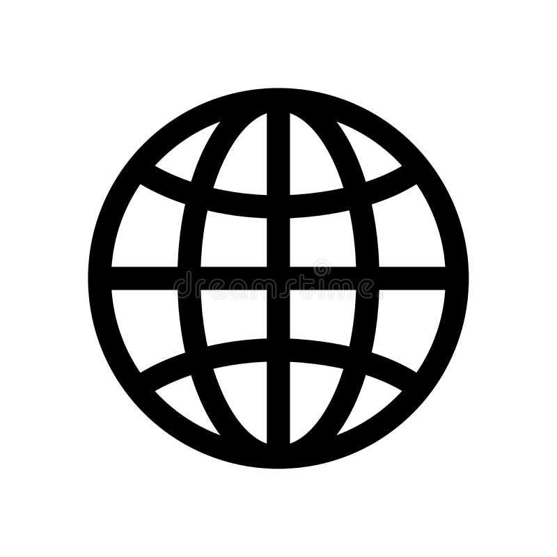 Símbolo do globo Sinal da terra do planeta ou do navegador de Internet Elemento do projeto moderno do esboço Ícone liso preto sim ilustração stock