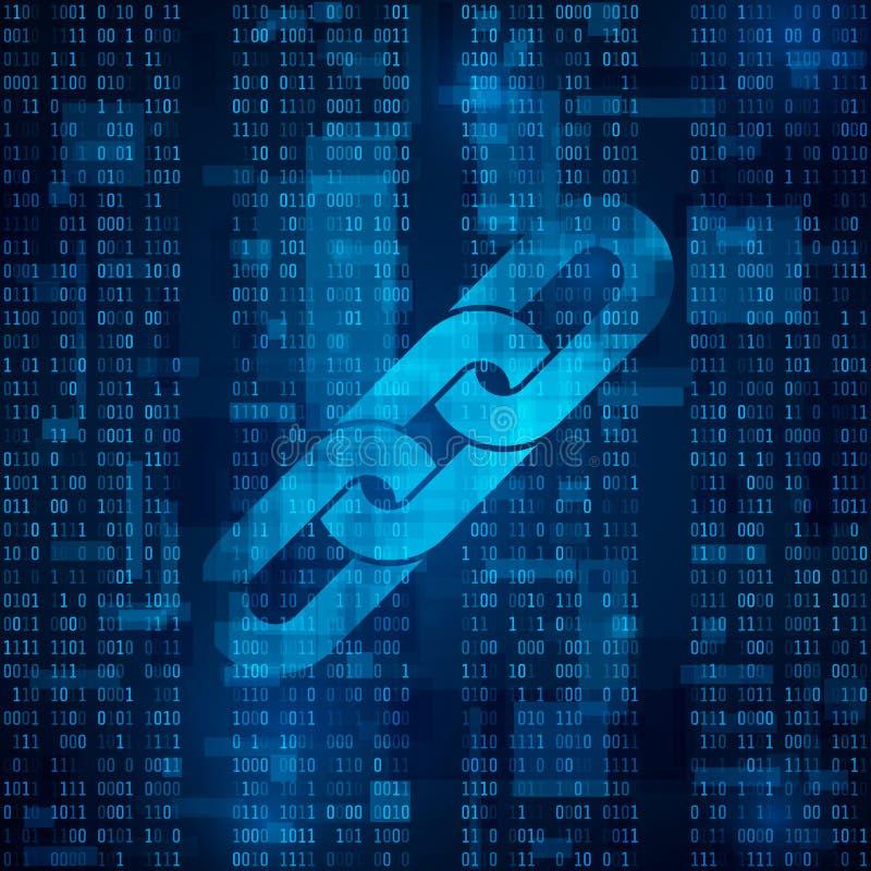 Símbolo do hiperlink de Blockchain no código binário Fundo azul abstrato da matriz ilustração royalty free