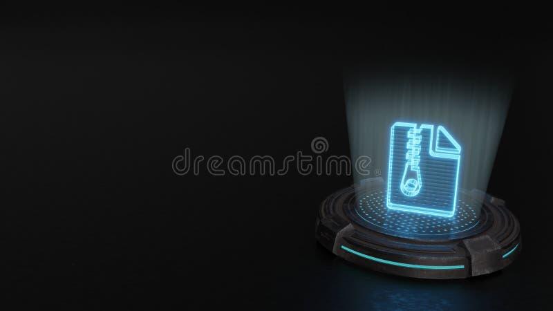 símbolo do holograma 3d do ícone do arquivo do arquivo para render ilustração do vetor