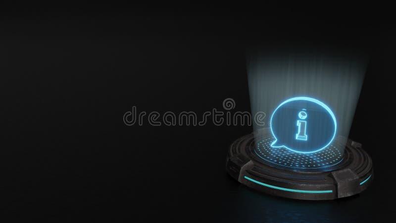 símbolo do holograma 3d do ícone arredondado das bolhas do bate-papo para render ilustração do vetor