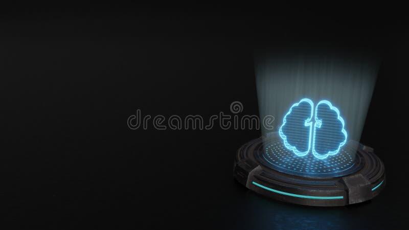s?mbolo do holograma 3d do ?cone do c?rebro para render foto de stock royalty free