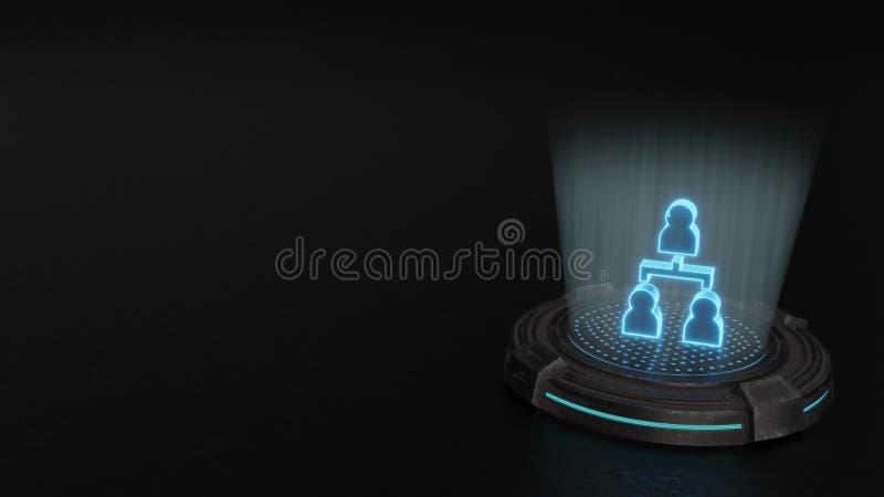 símbolo do holograma 3d do ícone da estrutura hierárquica para render imagem de stock royalty free