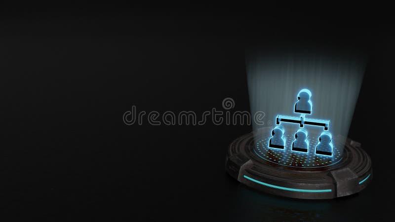 símbolo do holograma 3d do ícone da estrutura hierárquica para render fotos de stock royalty free