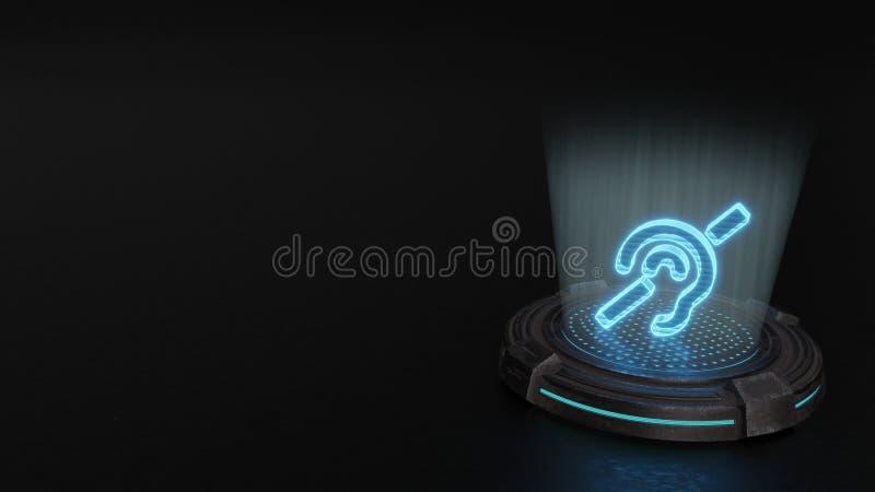 símbolo do holograma 3d do ícone surdo para render ilustração do vetor