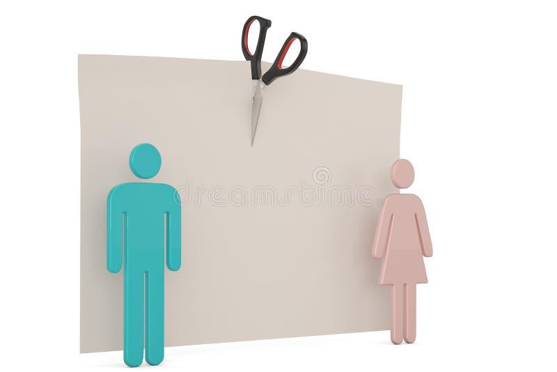 Símbolo do homem e da mulher do conceito do divórcio isolado no fundo branco ilustra??o 3D ilustração royalty free