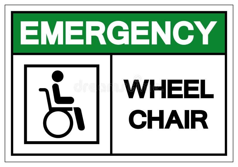 Símbolo do hospital da cadeira de roda da emergência, ilustração do vetor, isolado no ícone branco do fundo EPS10 ilustração do vetor