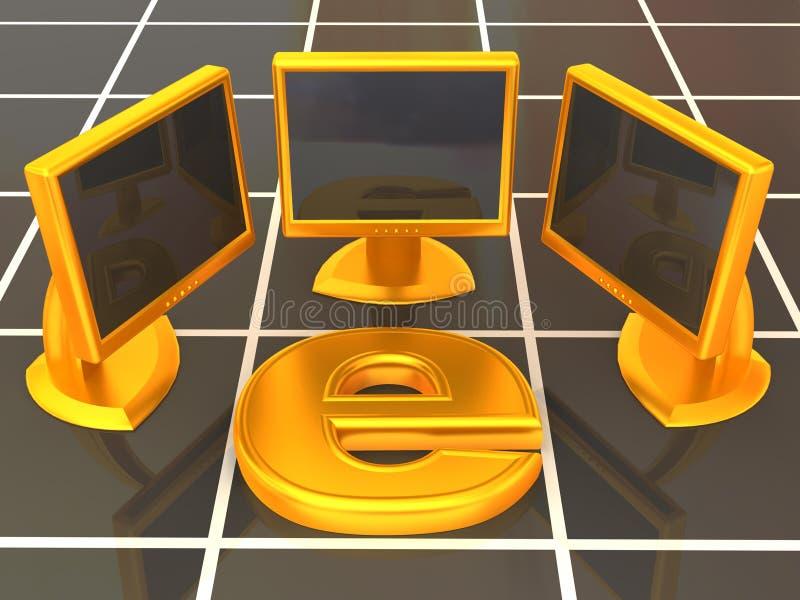Símbolo do Internet com rede local ilustração stock