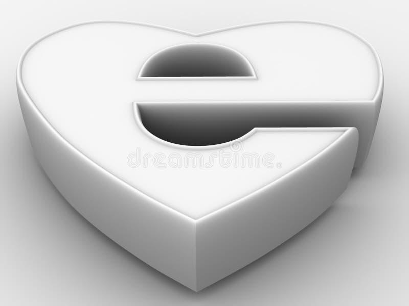 Símbolo do Internet como o coração ilustração do vetor