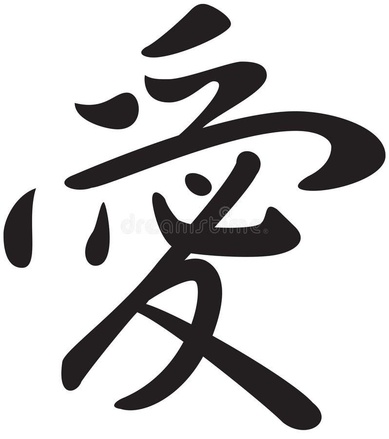 Símbolo do Kanji para o amor da palavra ilustração stock