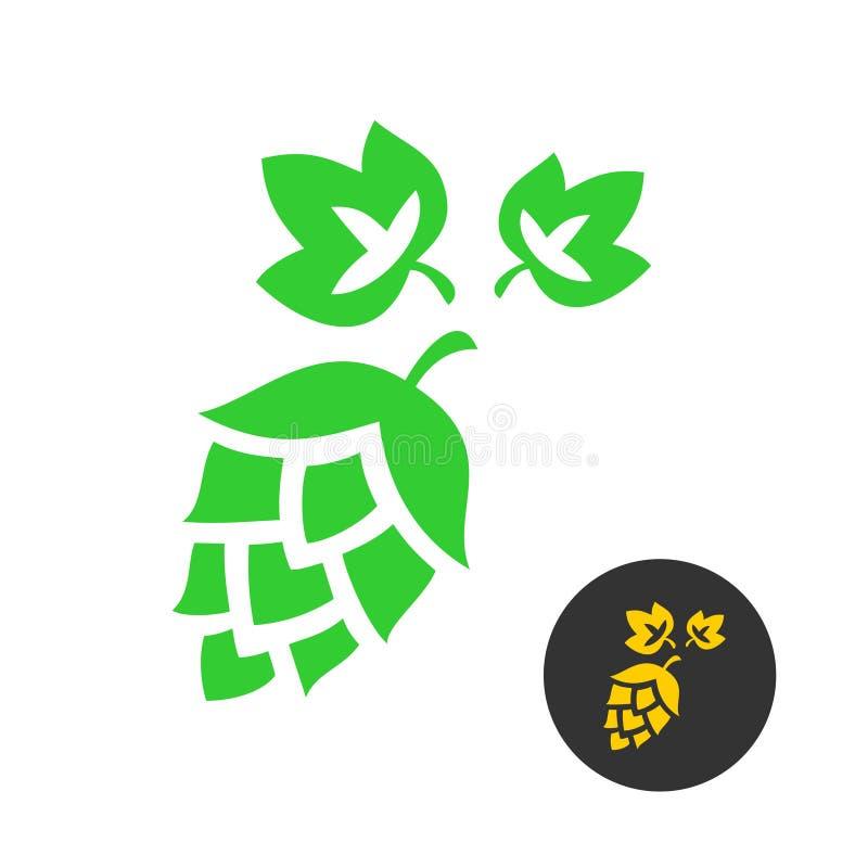 Símbolo do lúpulo com folhas ilustração do vetor