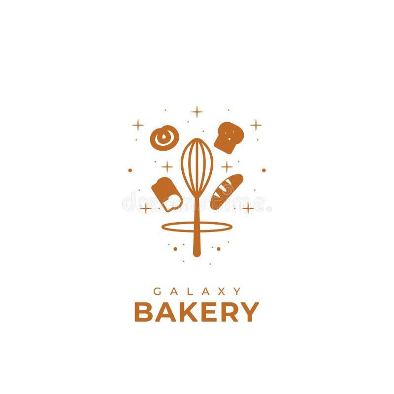 Símbolo do logotipo da padaria da galáxia do produto do pão ou da empresa da padaria ilustração do vetor