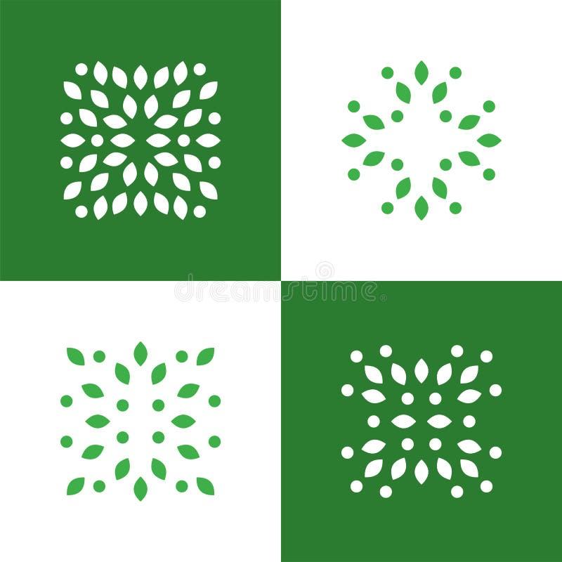 Símbolo do logotipo do sumário da planta verde Os ícones do vetor ajustaram-se Emblemas do negócio para a medicina, a ioga, o nat ilustração royalty free
