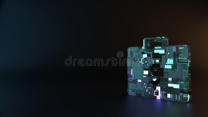 símbolo do metal da ficção científica da pasta com ícone do dinheiro para render fotos de stock