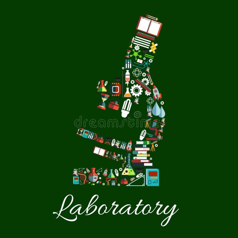 Símbolo do microscópio do laboratório com artigos da ciência ilustração stock