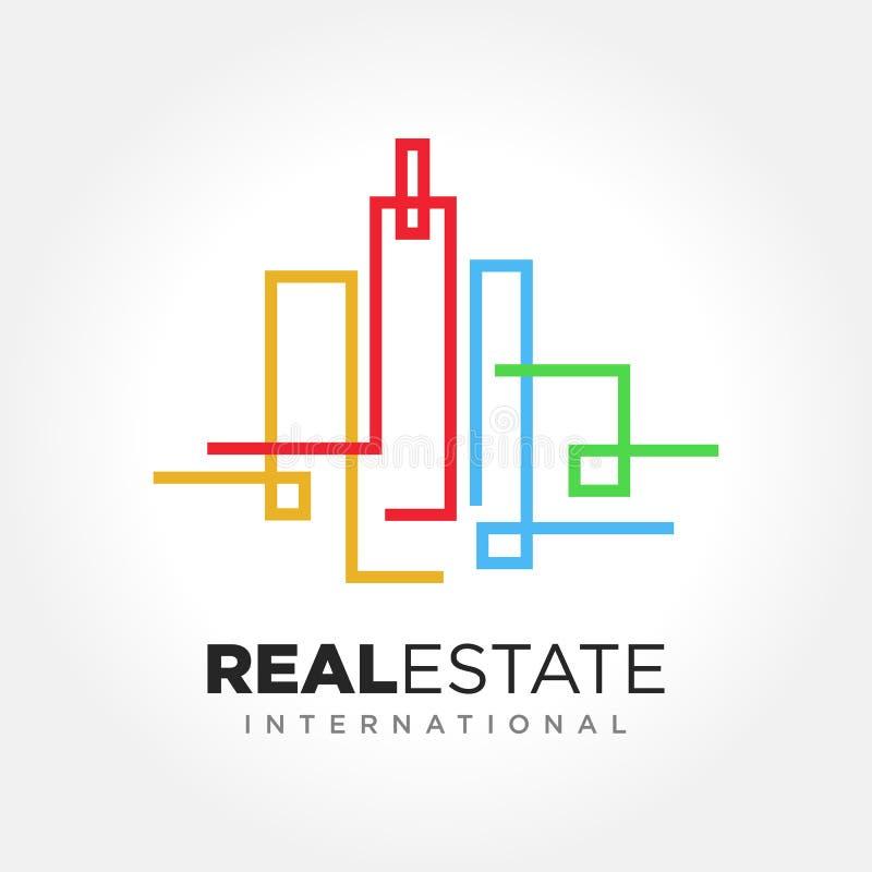 Símbolo do negócio de Real Estate, molde do logotipo do vetor ilustração do vetor