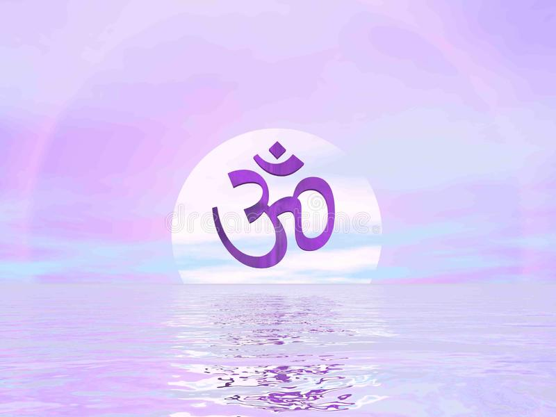 Símbolo do OM por Violet Sunset - 3D rendem ilustração stock