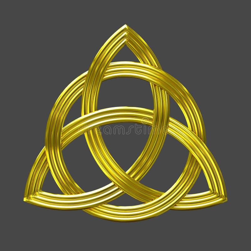Símbolo do ouro do nó da trindade de Triquetra imagens de stock royalty free