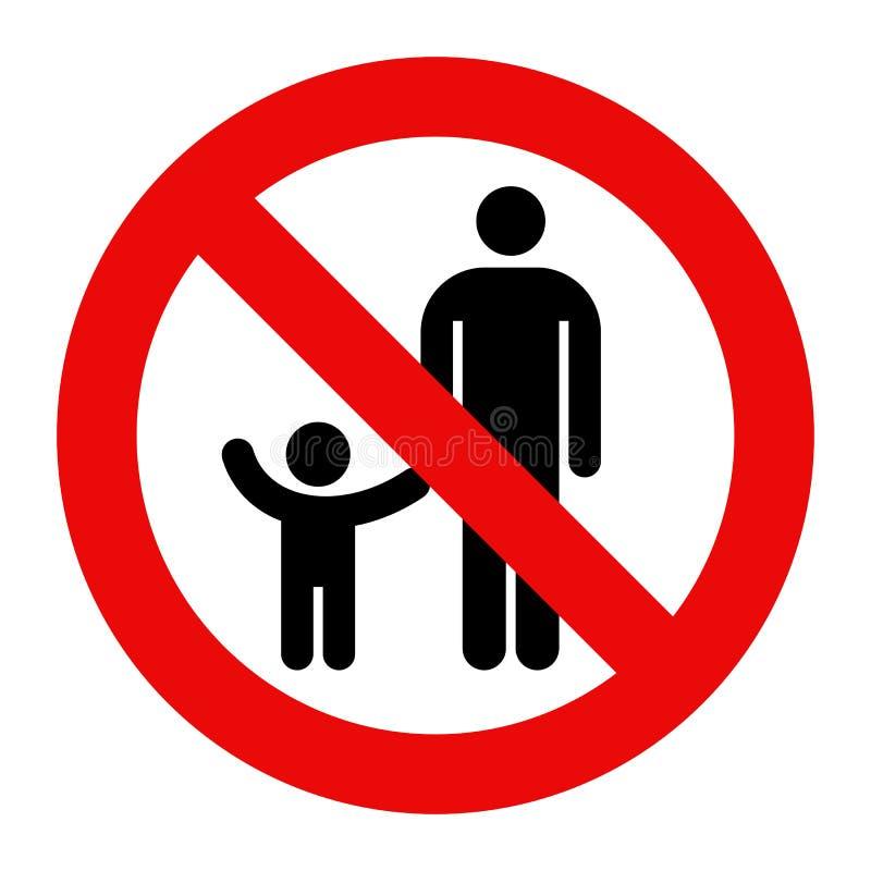 Símbolo do pai e da criança Sinal de aviso ilustração do vetor