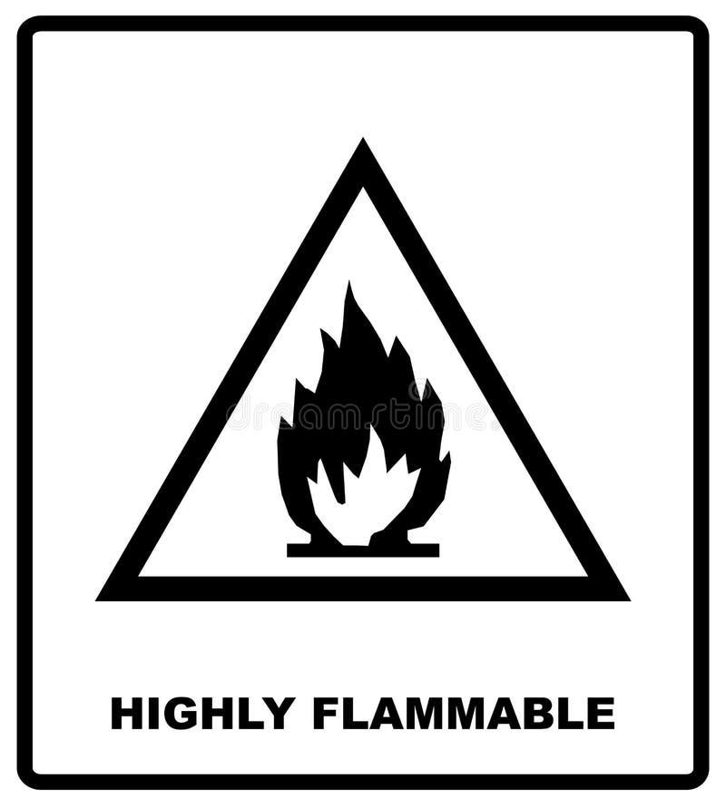 Símbolo do perigo - altamente inflamável Bandeira do transporte de carga para a caixa Ilustração do vetor Silhueta preta isolada  ilustração do vetor