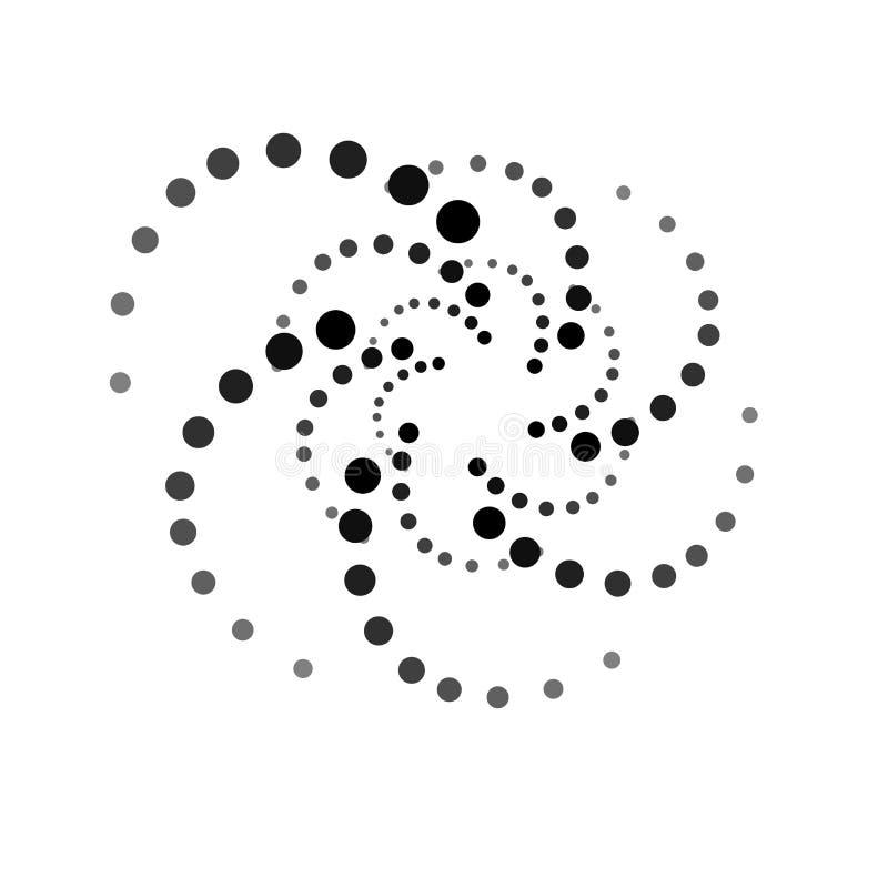 SÍMBOLO DO POLVO CÍRCULO PONTILHADO GIRO Elementos de intervalo mínimo do projeto Vetor isolado no fundo branco ilustração stock