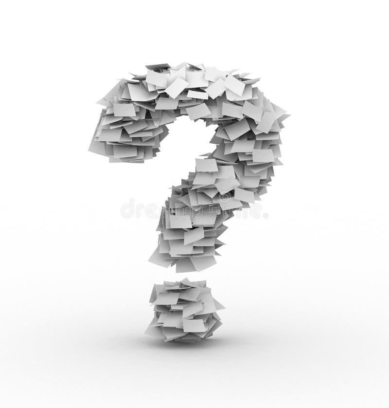 Símbolo do ponto de interrogação, empilhado das folhas de papel ilustração do vetor