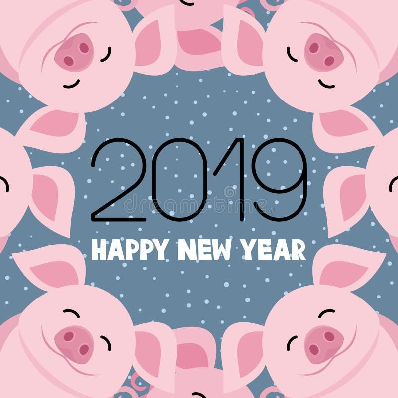 Símbolo do porco do ano novo ilustração do vetor