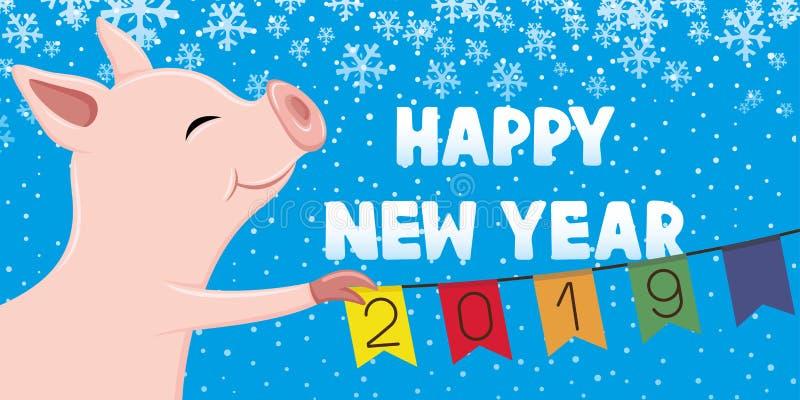 Símbolo do porco do ano novo ilustração royalty free