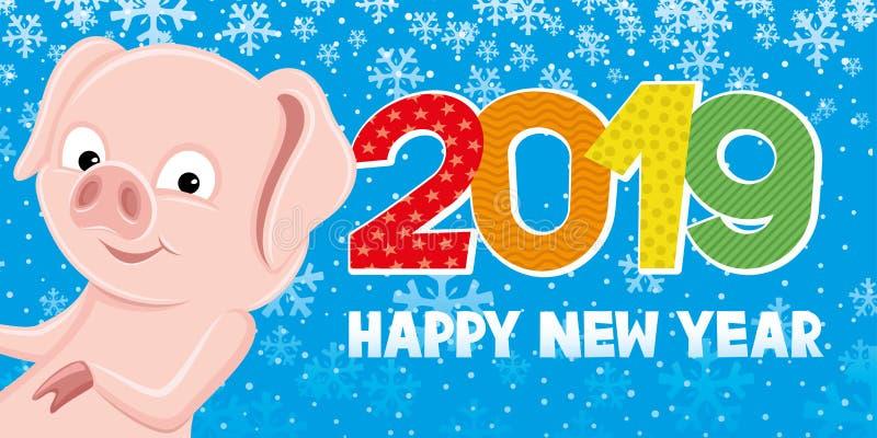 Símbolo do porco do ano novo ilustração stock