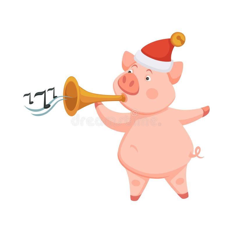 Símbolo do porco de 2019 anos novos de aproximação que jogam na trombeta ilustração royalty free