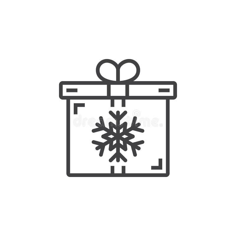 Símbolo do presente de Natal Caixa de presente com linha ícone do floco de neve, para fora ilustração stock