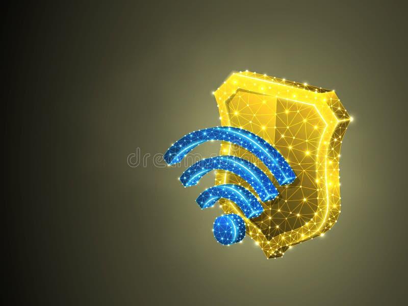 Símbolo do protetor da segurança de Wi-Fi, proteção poligonal colorida abstrata do Internet do negócio do vetor 3d Baixo wirefram ilustração stock