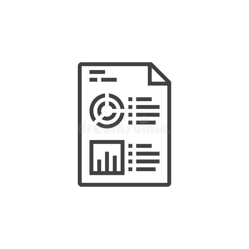 Símbolo do relatório comercial Estatísticas e linha ícone do arquivo da analítica, ilustração royalty free