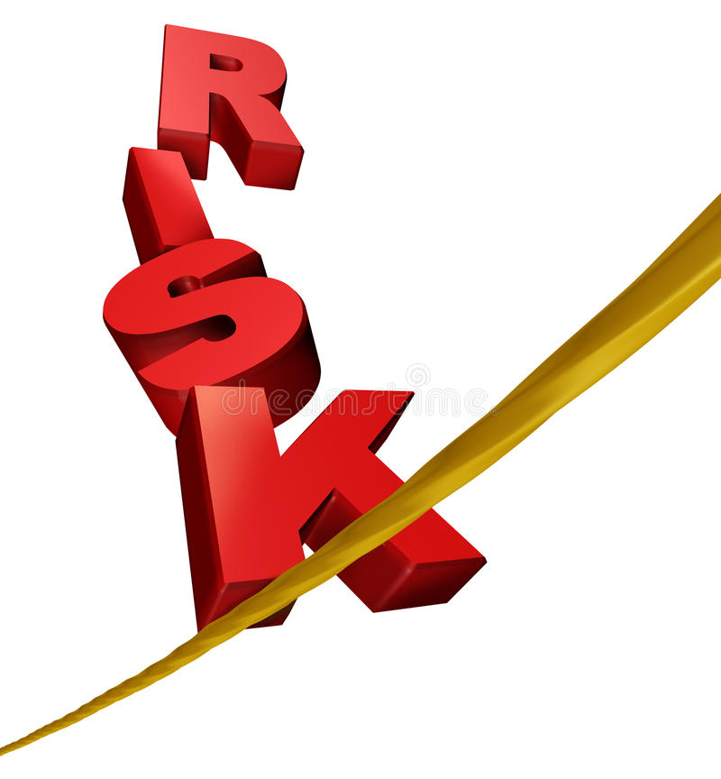 Símbolo do risco em um tightrope ilustração stock