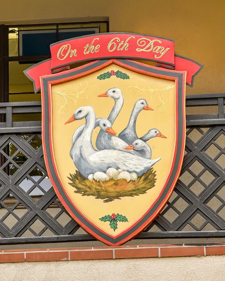 Símbolo do sexto dia do famoso 'Os Doze Dias do Natal', uma canção com doze versos cada descrevendo um presente dado imagem de stock royalty free