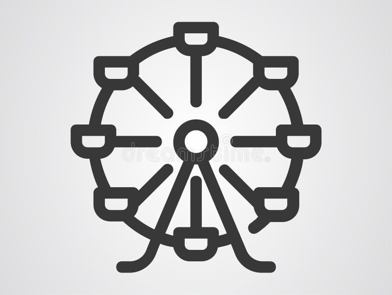 Símbolo do sinal do ícone da roda de Ferris ilustração royalty free