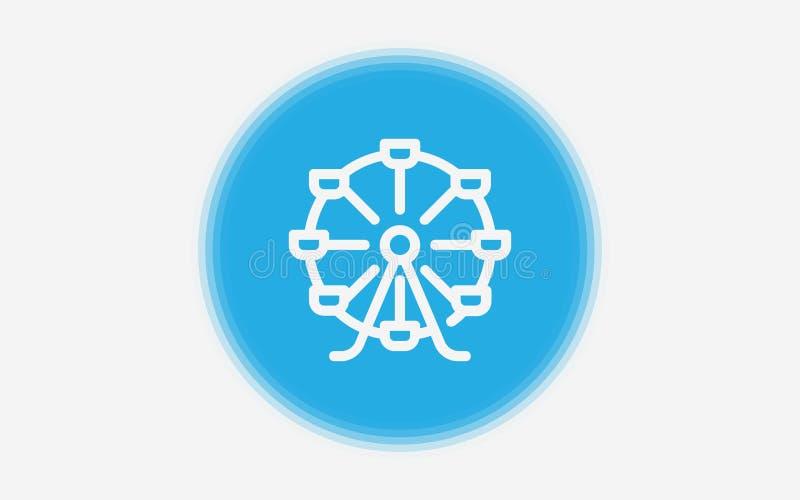 Símbolo do sinal do ícone da roda de Ferris ilustração do vetor