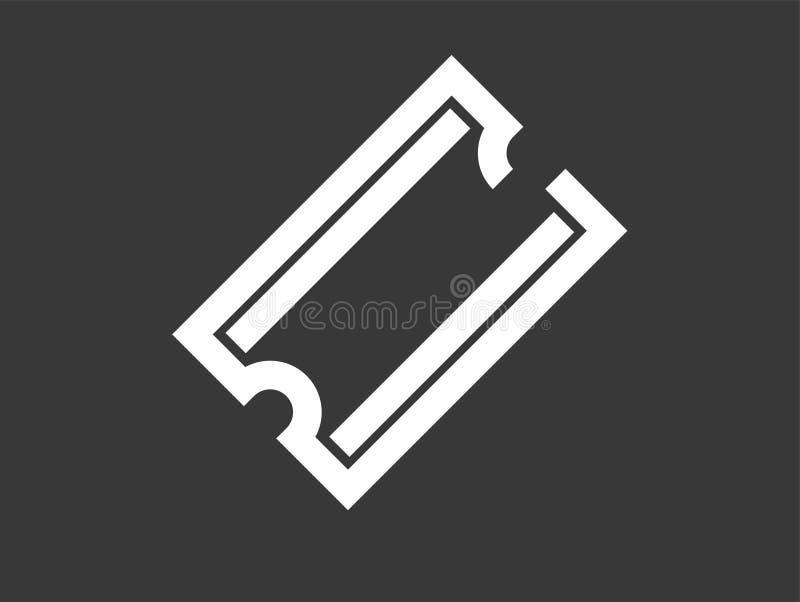 Símbolo do sinal do ícone do vetor do bilhete ilustração do vetor