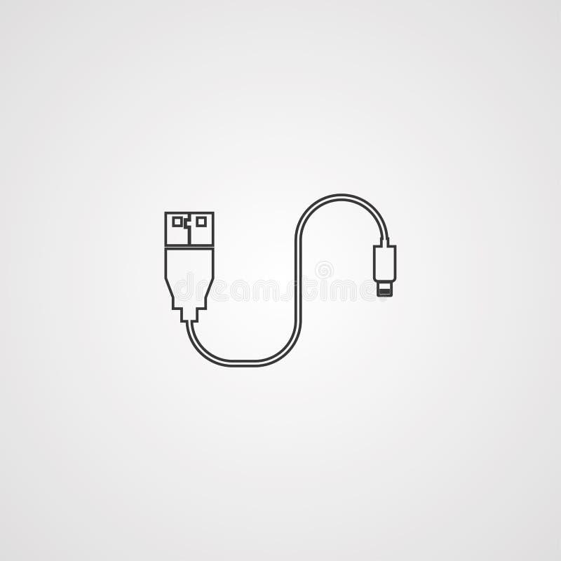 Símbolo do sinal do ícone do vetor do cabo de dados ilustração do vetor