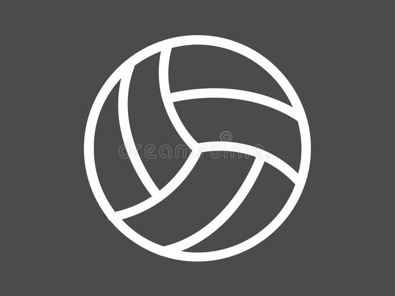 Símbolo do sinal do ícone do vetor da bola do voleibol ilustração royalty free